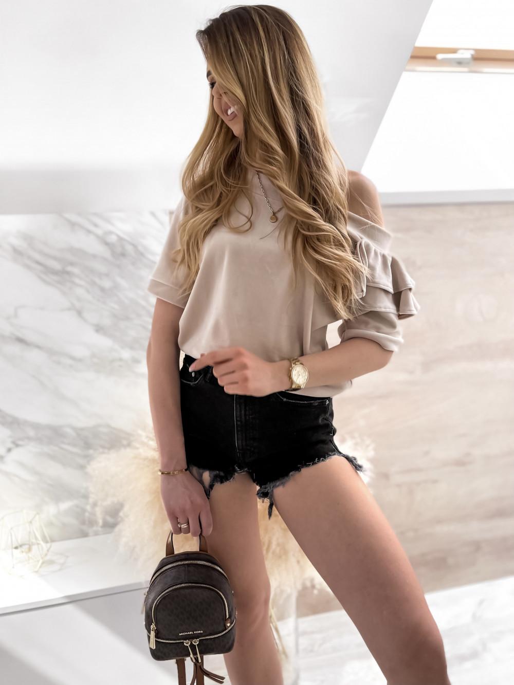 Beżowa welurowa bluzka z falbankami i krótkim rękawem Wendy 1