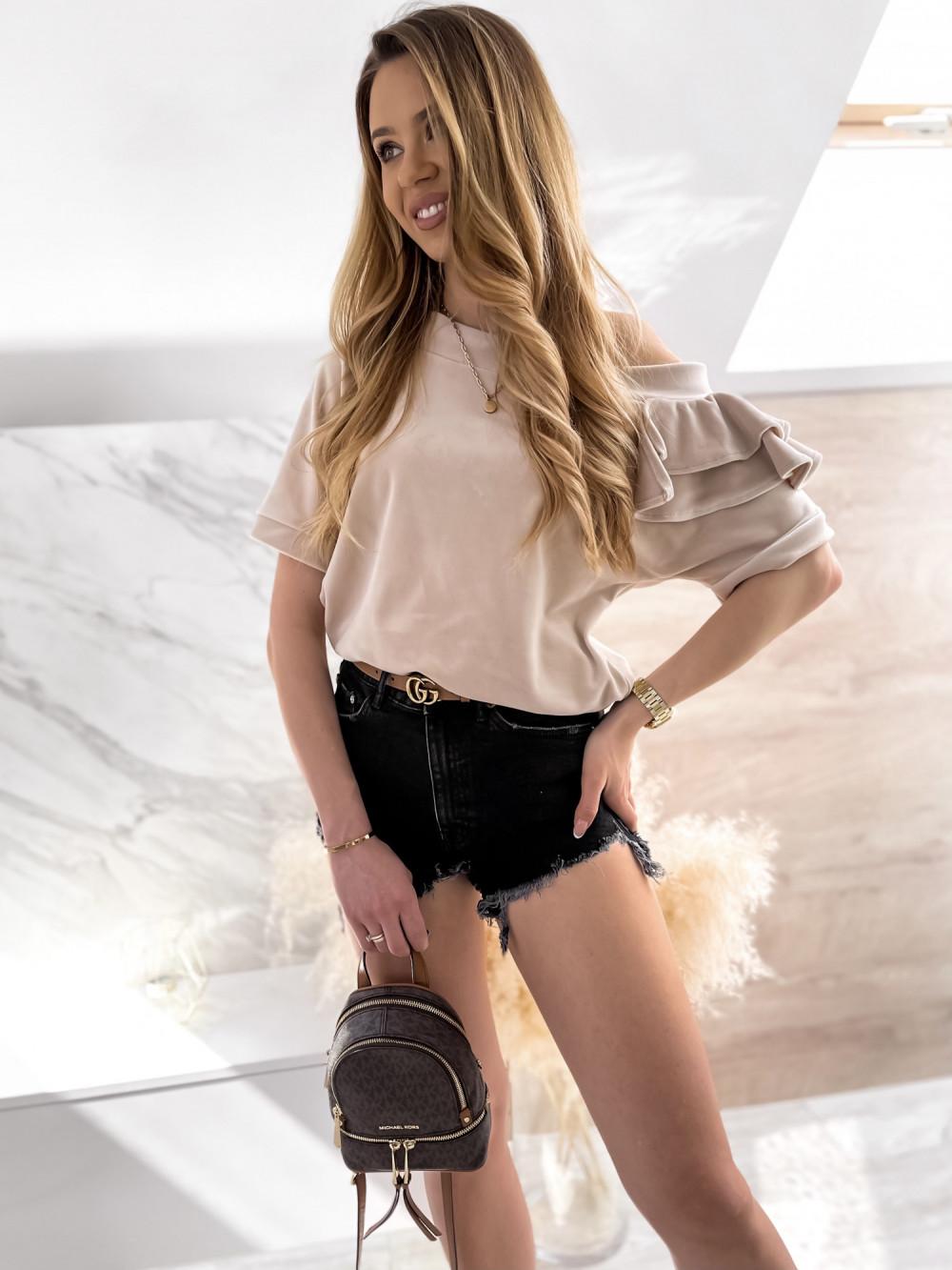 Beżowa welurowa bluzka z falbankami i krótkim rękawem Wendy 3