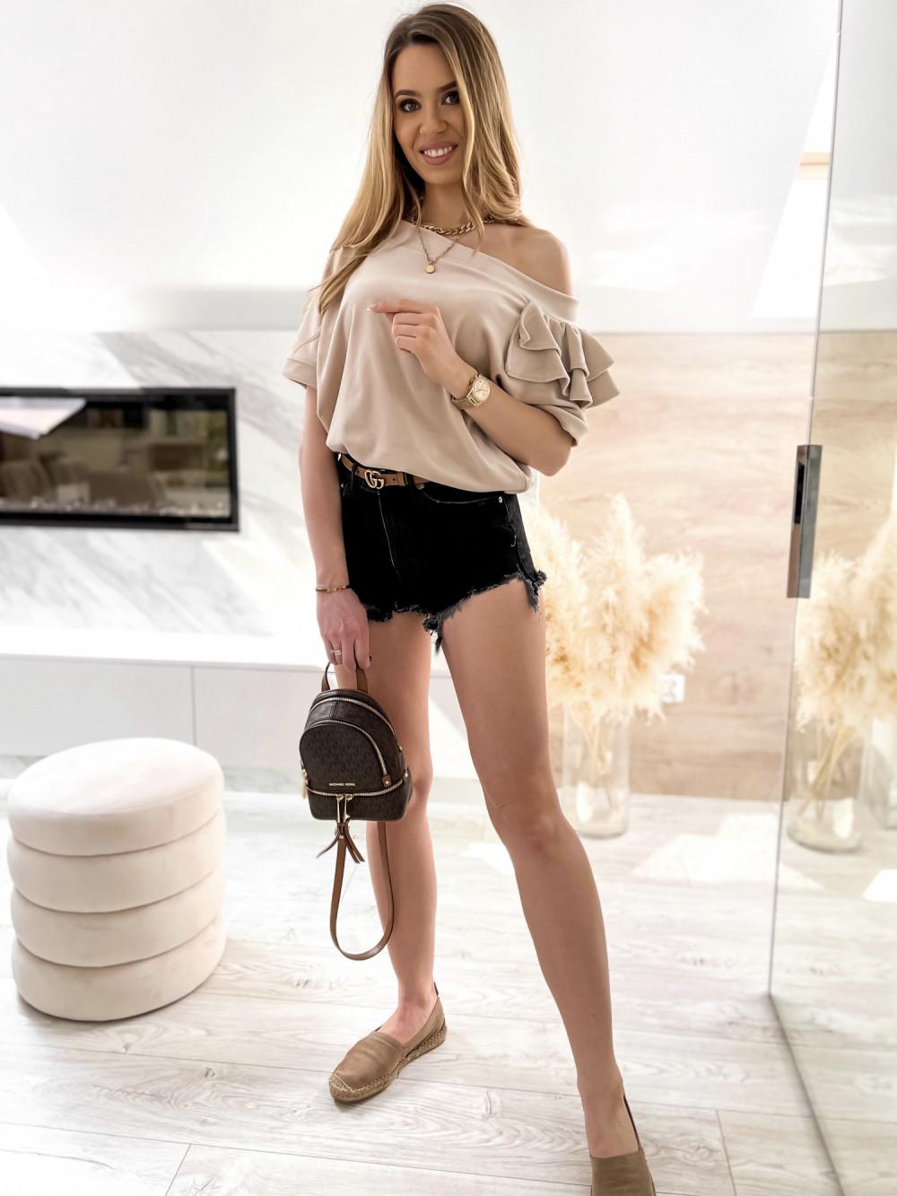 Beżowa welurowa bluzka z falbankami i krótkim rękawem Wendy 2