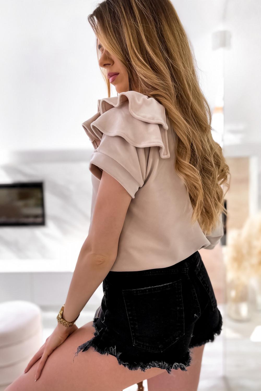 Beżowa welurowa bluzka z falbankami i krótkim rękawem Wendy 6