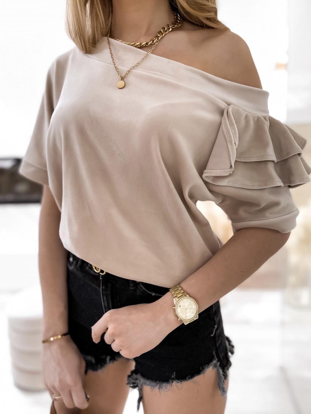 Beżowa welurowa bluzka z falbankami i krótkim rękawem Wendy 4