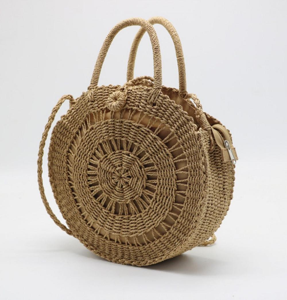 Brązowa okrągła torebka damska wiklinowa Corazona 2