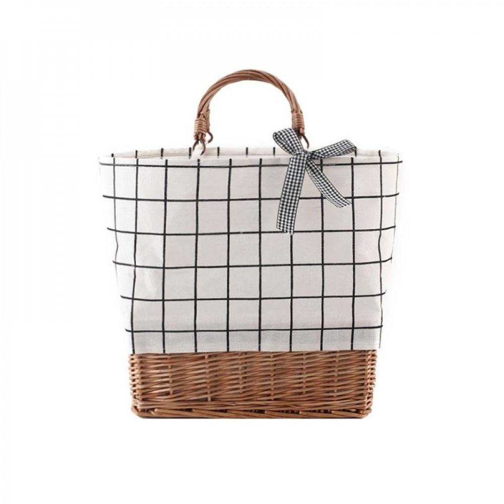 Beżowa torebka damska wiklinowa w kratkę shopper Aperto 2