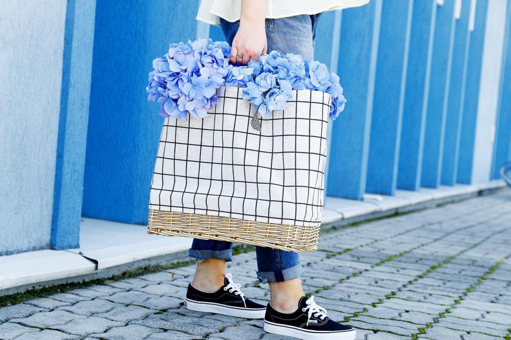 Beżowa torebka damska wiklinowa w kratkę shopper Aperto 5