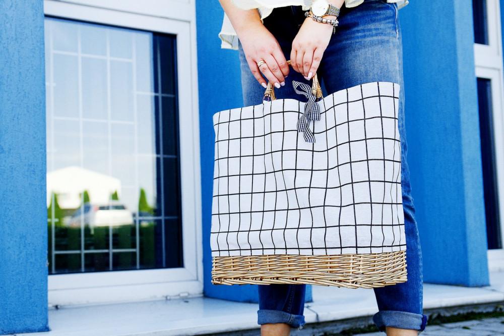Beżowa torebka damska wiklinowa w kratkę shopper Aperto 8