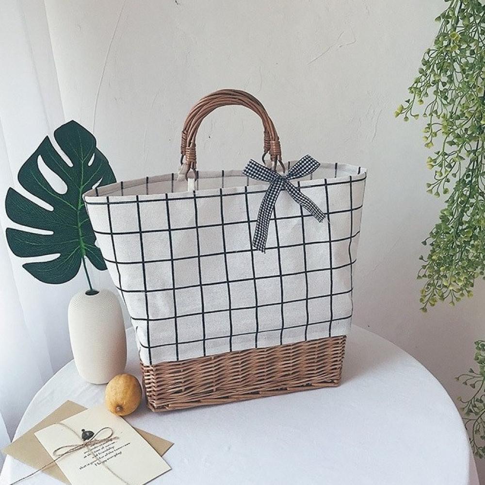 Beżowa torebka damska wiklinowa w kratkę shopper Aperto 1
