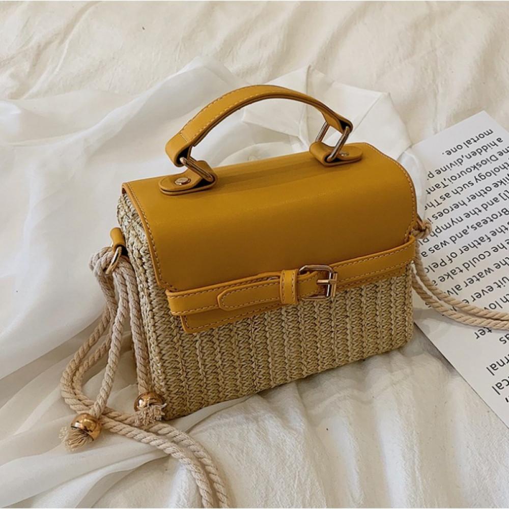 Żółta torebka damski wiklinowa kuferek Rita 3