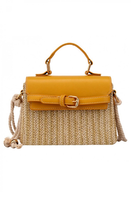 Żółta torebka damski wiklinowa kuferek Rita 4