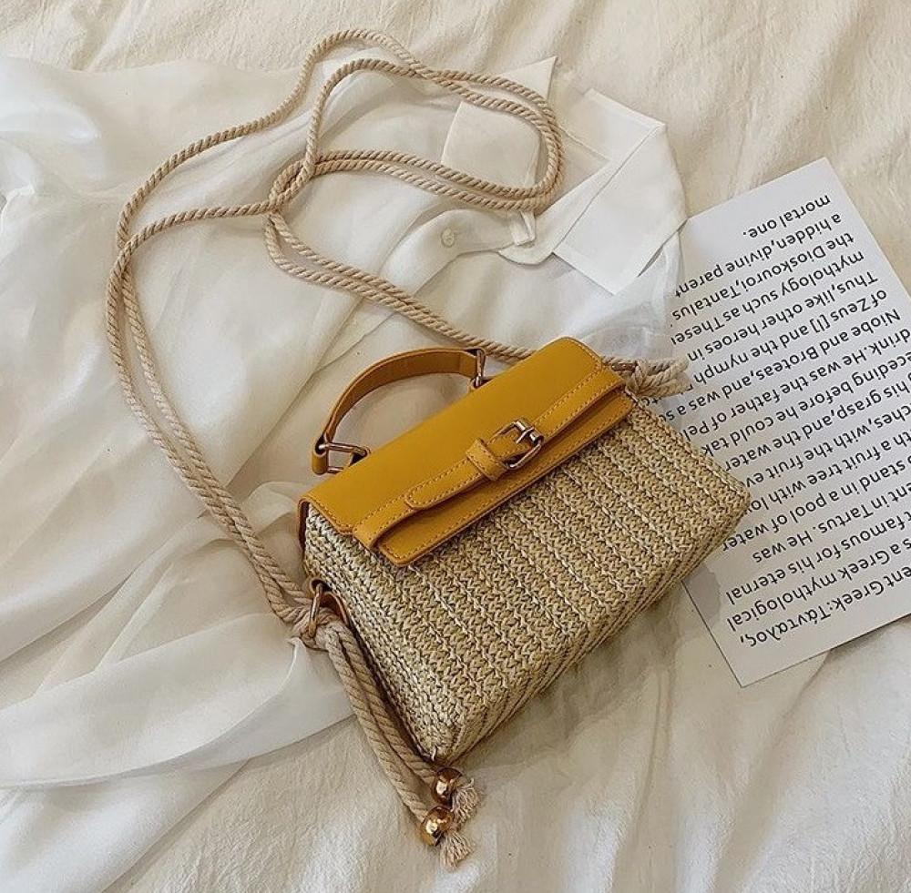 Żółta torebka damski wiklinowa kuferek Rita 1