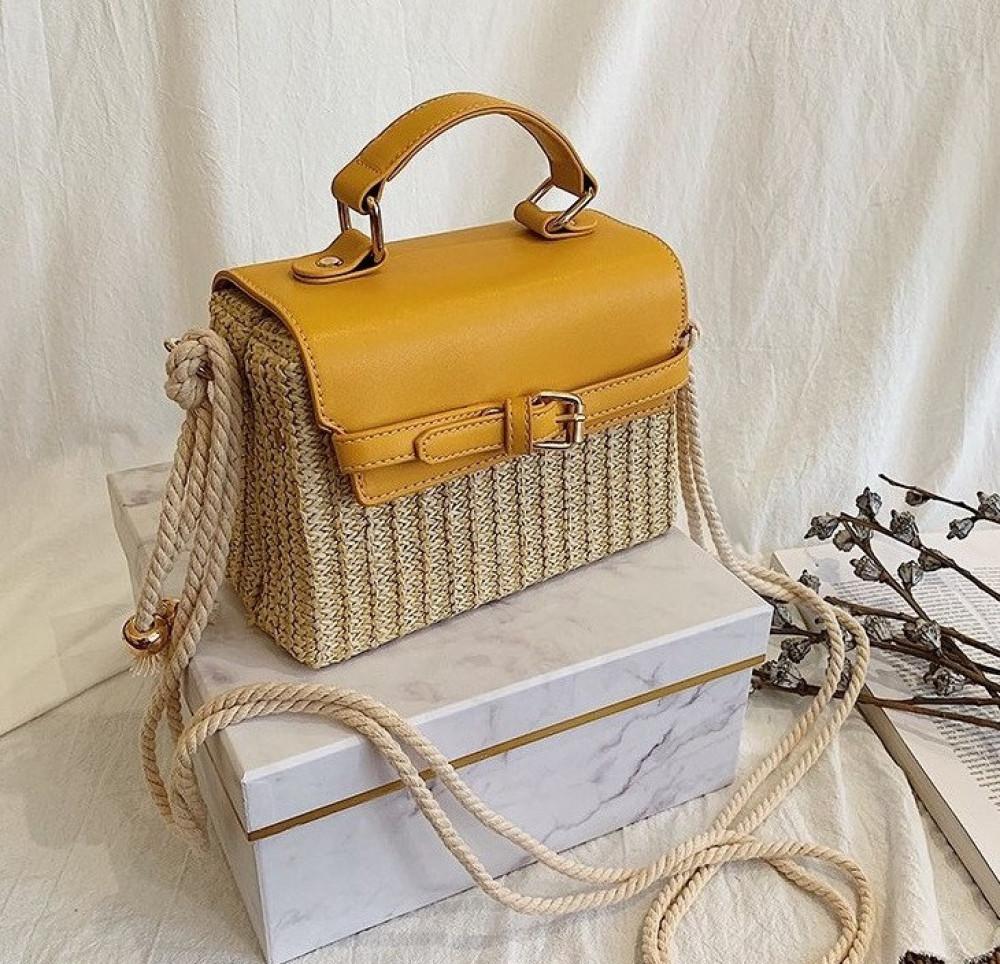 Żółta torebka damski wiklinowa kuferek Rita 2