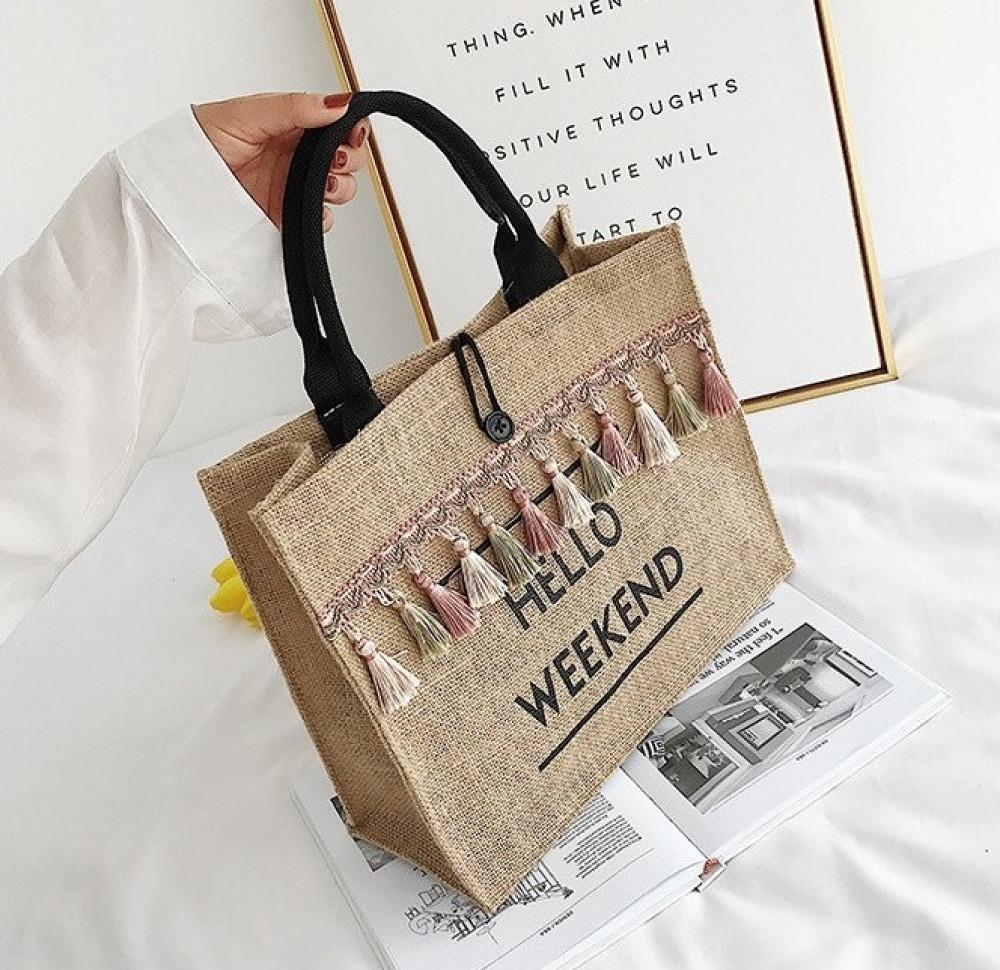 Brązowa torebka damska wiklinowa z frędzelkami shoper Weekend 3