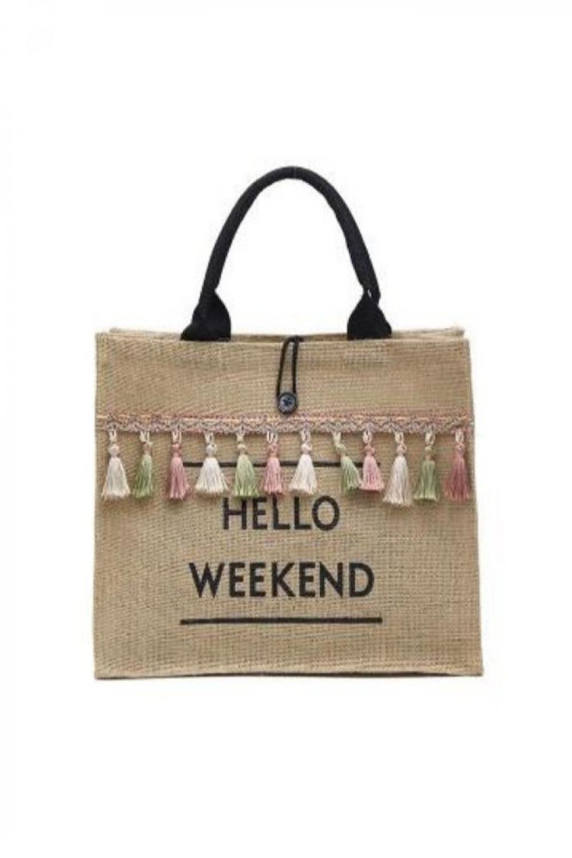 Brązowa torebka damska wiklinowa z frędzelkami shoper Weekend 1