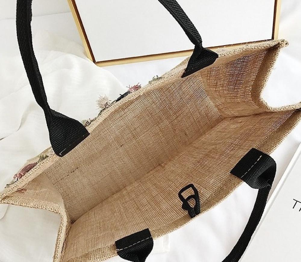 Brązowa torebka damska wiklinowa z frędzelkami shoper Weekend 5