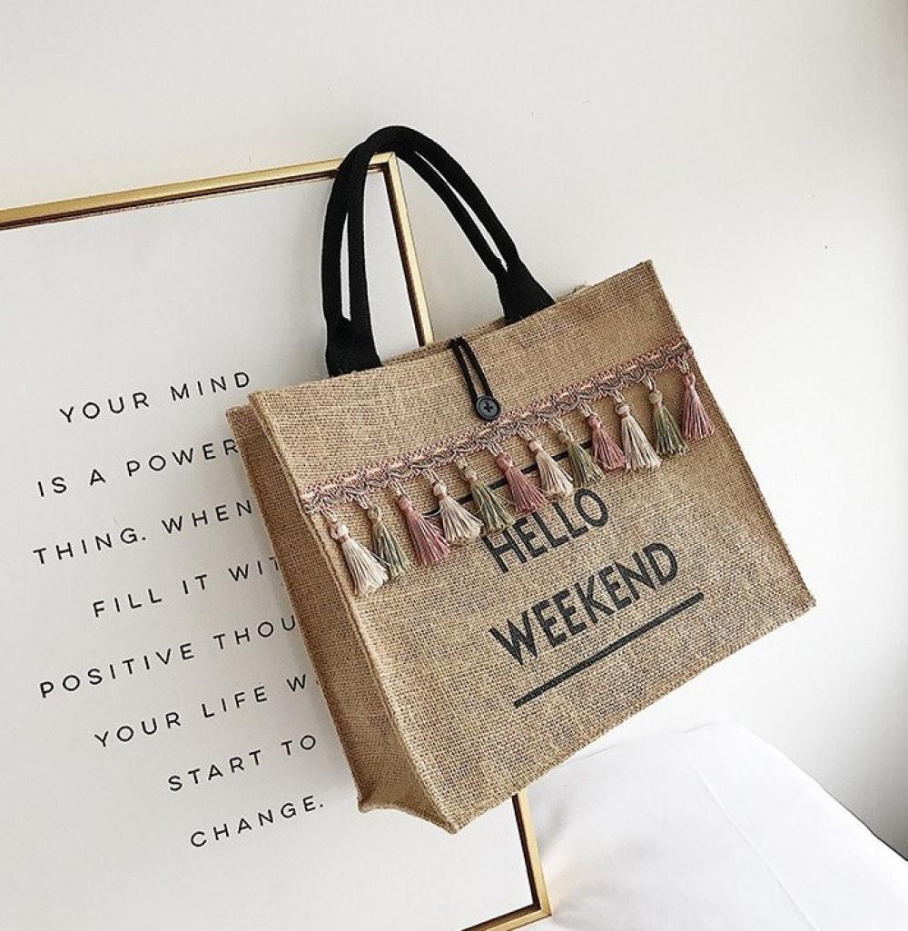 Brązowa torebka damska wiklinowa z frędzelkami shoper Weekend 2