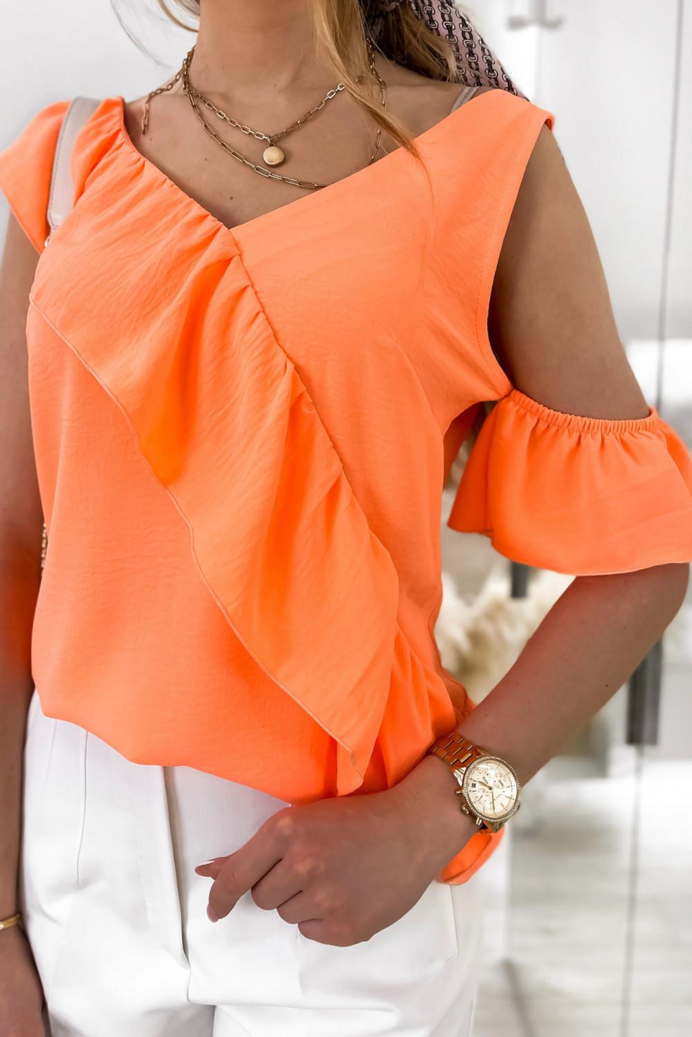Pomarańczowa bluzka z falbankami na jedno ramię V-Neck Florence 3