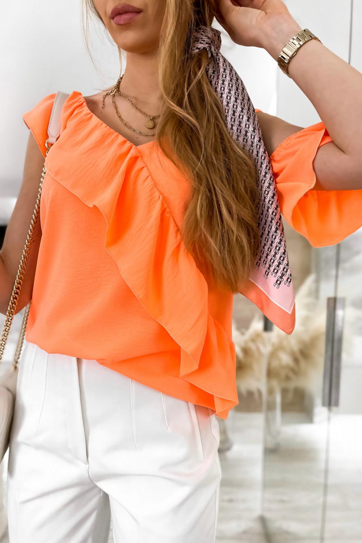 Pomarańczowa bluzka z falbankami na jedno ramię V-Neck Florence 2