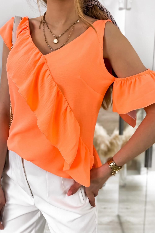 Pomarańczowa bluzka z falbankami na jedno ramię V-Neck Florence 4