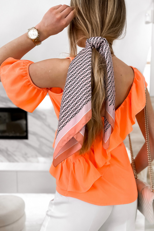 Pomarańczowa bluzka z falbankami na jedno ramię V-Neck Florence 7