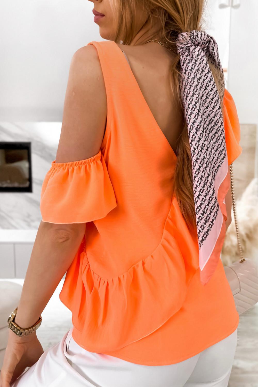 Pomarańczowa bluzka z falbankami na jedno ramię V-Neck Florence 6