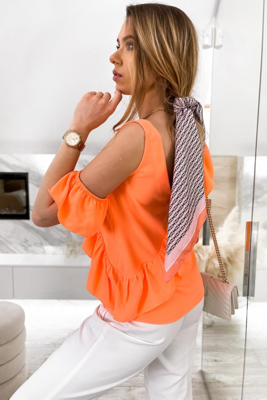 Pomarańczowa bluzka z falbankami na jedno ramię V-Neck Florence 5