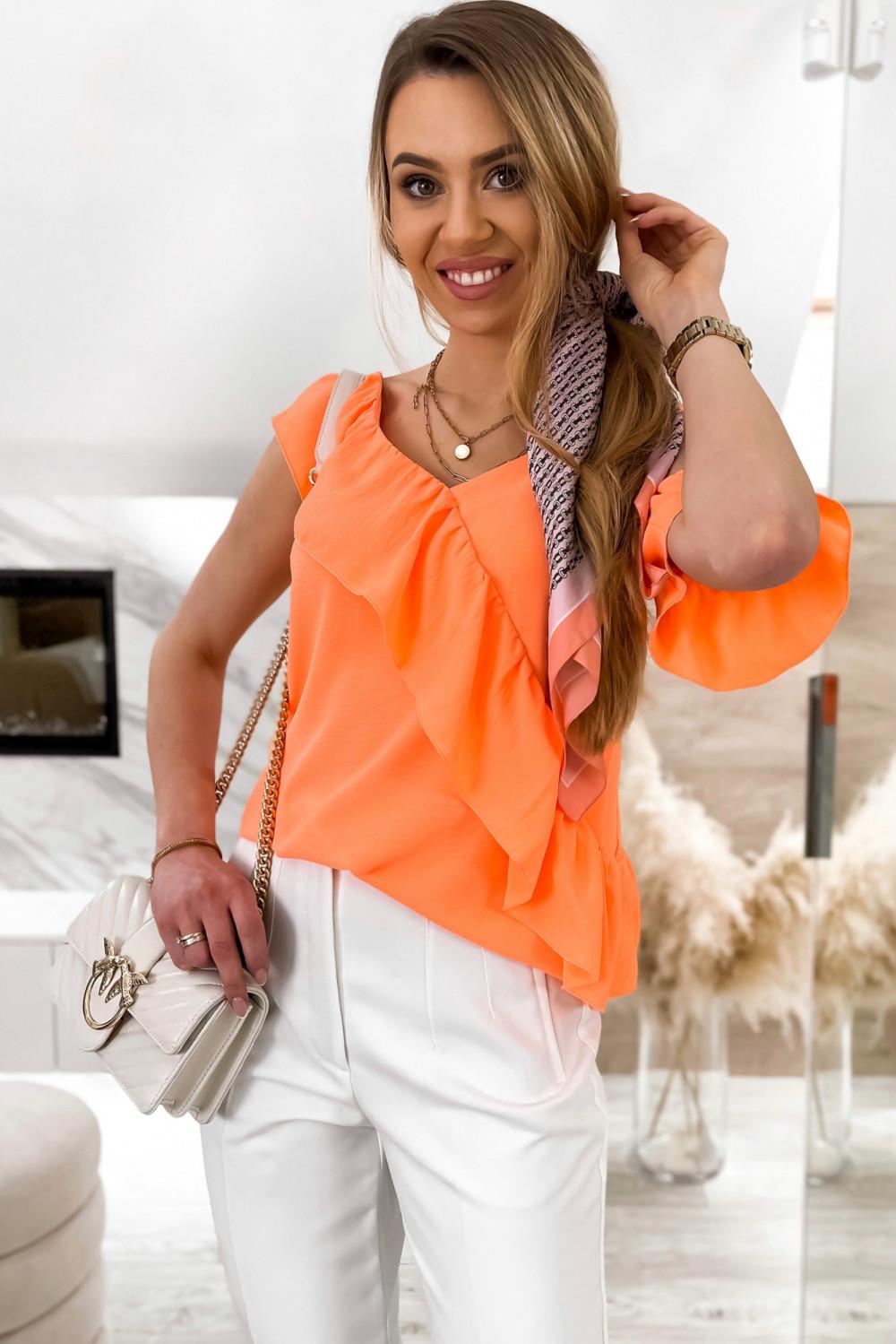 Pomarańczowa bluzka z falbankami na jedno ramię V-Neck Florence 1