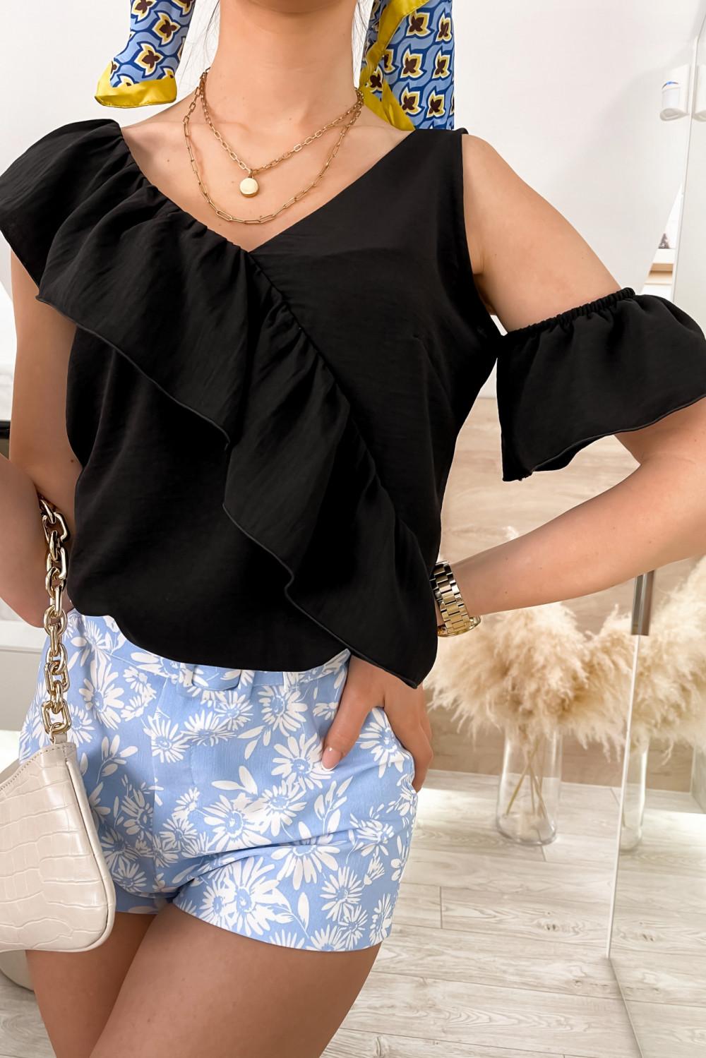 Czarna bluzka z falbankami na jedno ramię V-Neck Florence 4