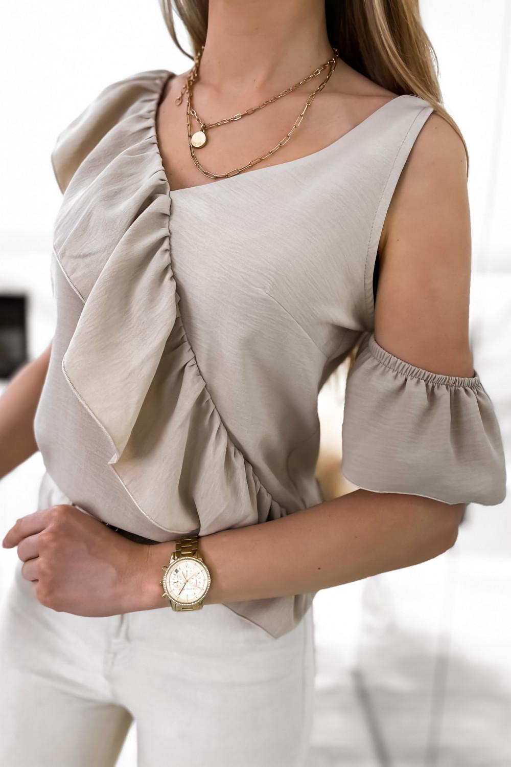 Beżowa bluzka z falbankami na jedno ramię V-Neck Florence 2
