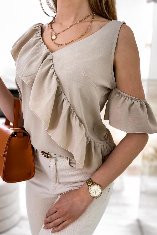 Beżowa bluzka z falbankami na jedno ramię V-Neck Florence 3
