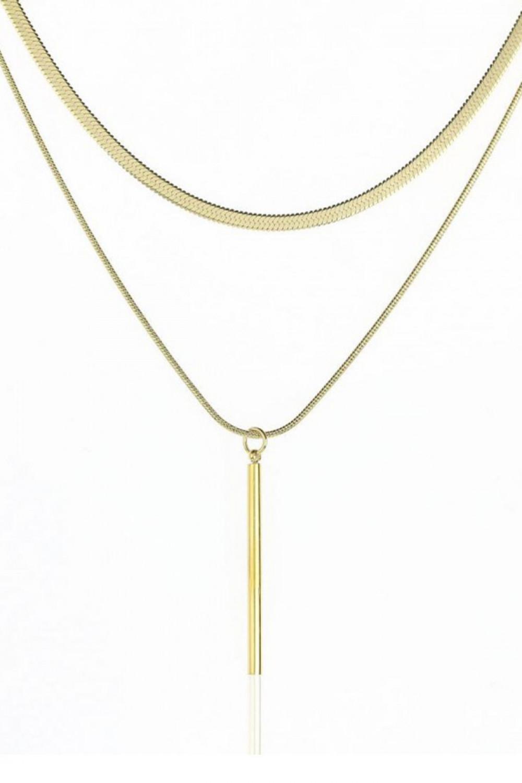 Naszyjnik celebrytka kaskadowy z pałeczką Dominique 1