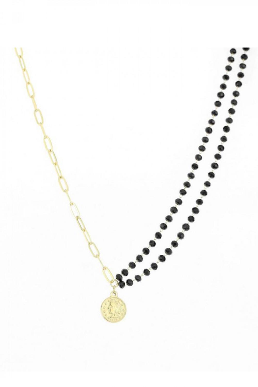 Naszyjnik celebrytka z czarnymi perełkami i monetami Isabelle 1