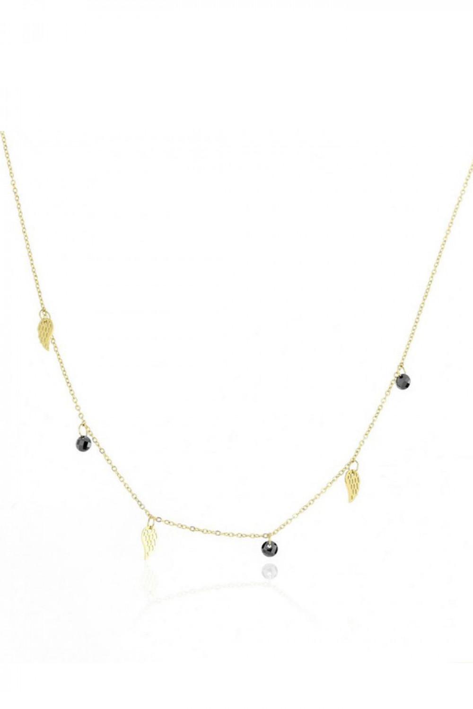 Naszyjnik celebrytka z piórkami i czarnymi kryształkami Laura 1