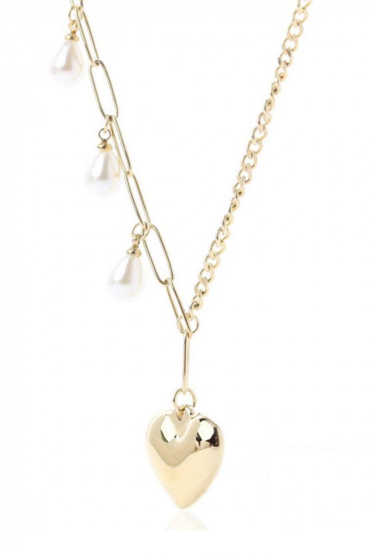 Naszyjnik celebrytka z sercem i perełkami Cristina 1