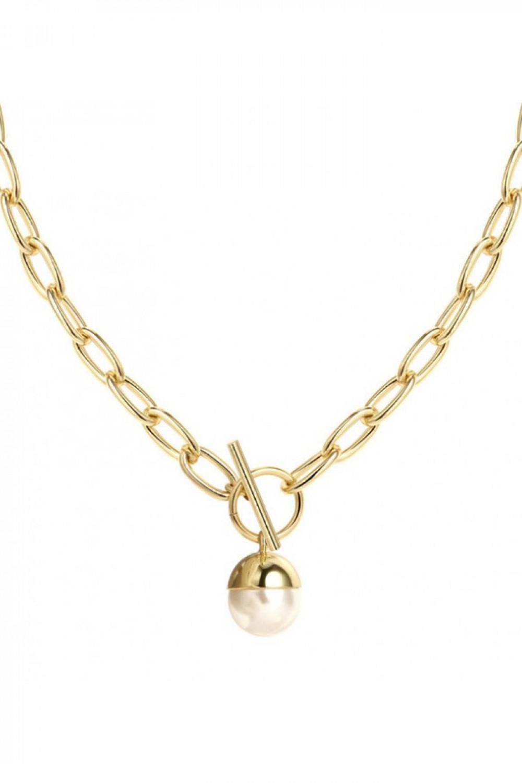 Naszyjnik celebrytka łańcuch z perłą Isaure 1