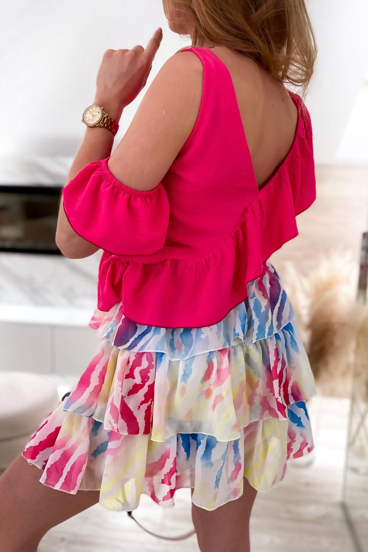 Pastelowo czerwona spódniczka rozkloszowana z falbanki zeberka Esmeralda 6