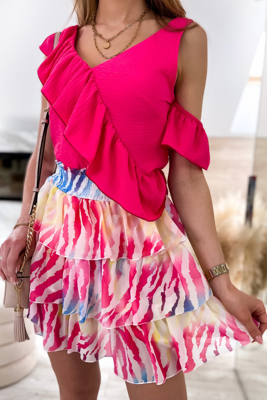 Pastelowo czerwona spódniczka rozkloszowana z falbanki zeberka Esmeralda 4
