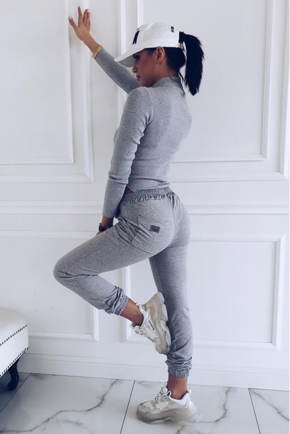 Szare dresowe spodnie Anny 3