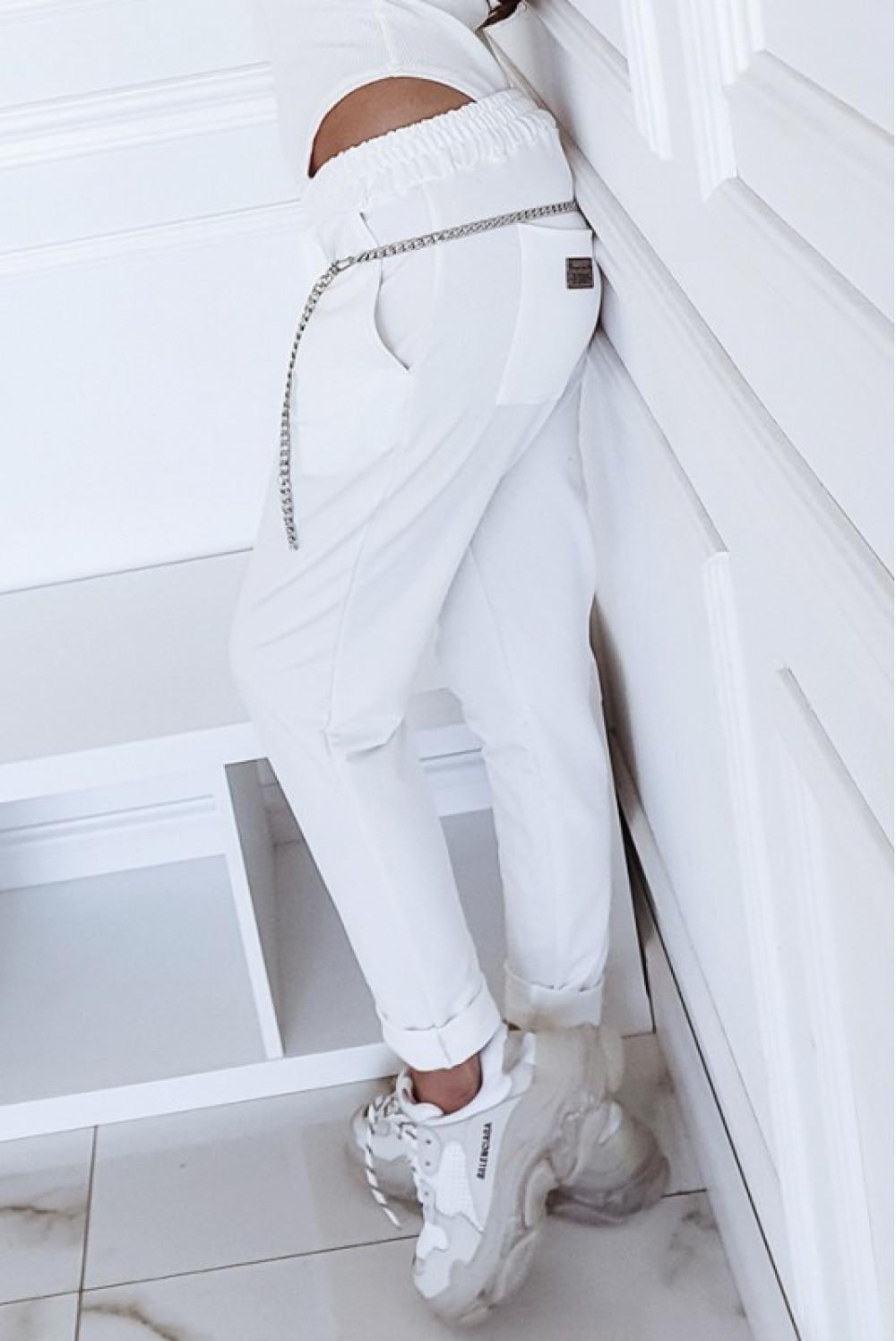 Kremowe dopasowane spodnie dresowe Océane 2