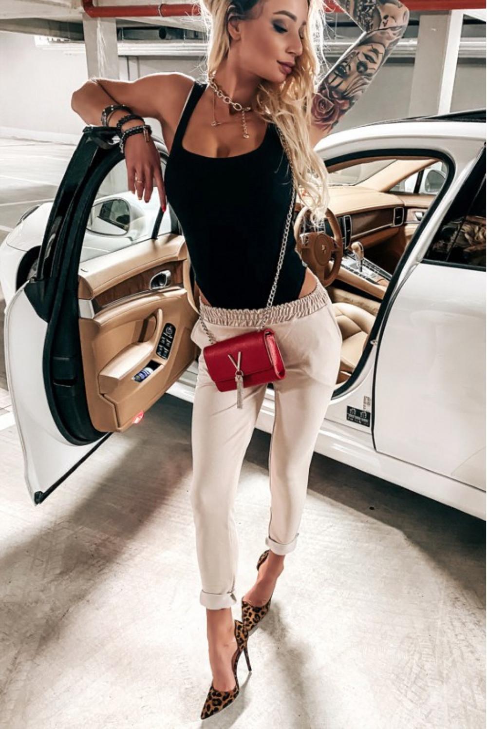 Beżowe dopasowane spodnie dresowe Océane 2