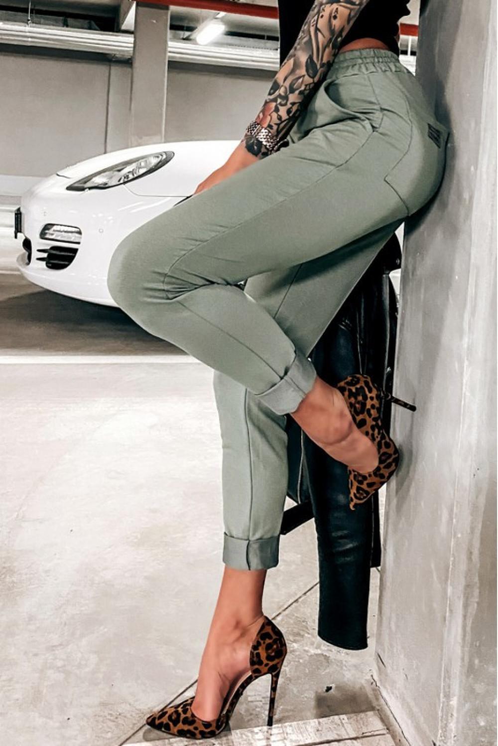 Khaki dopasowane spodnie dresowe Océane 2