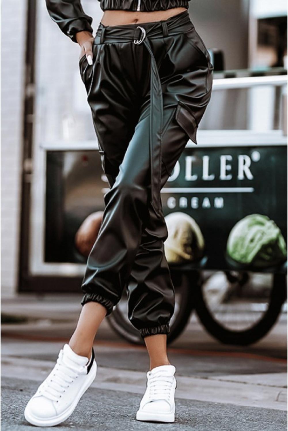 Czarne skórzane spodnie bojówki Perle 3