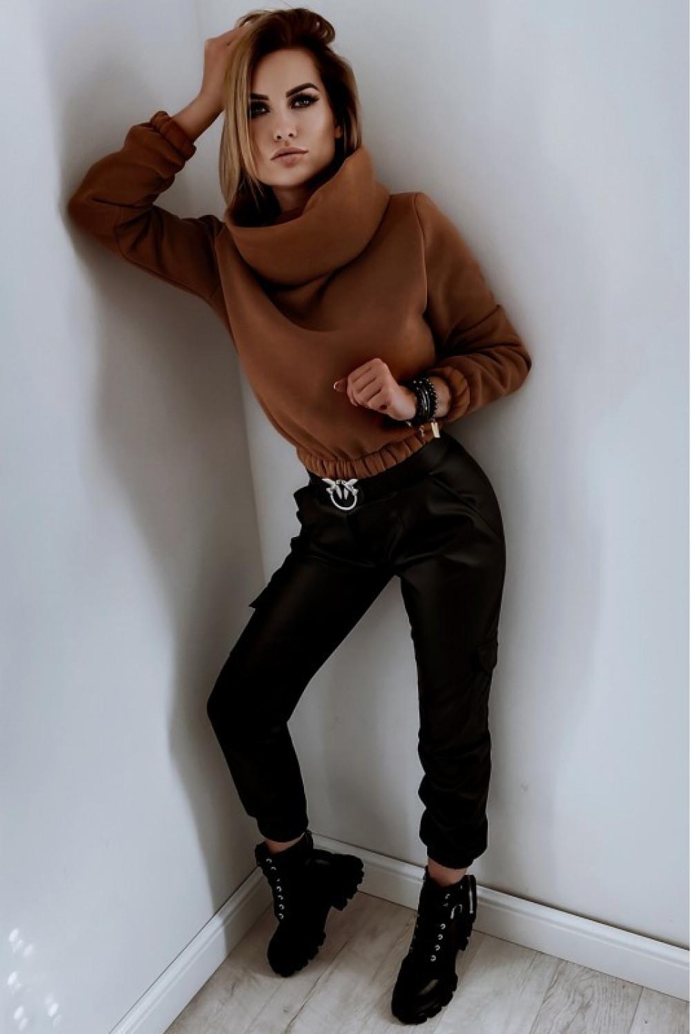 Czarne skórzane spodnie bojówki Perle 4