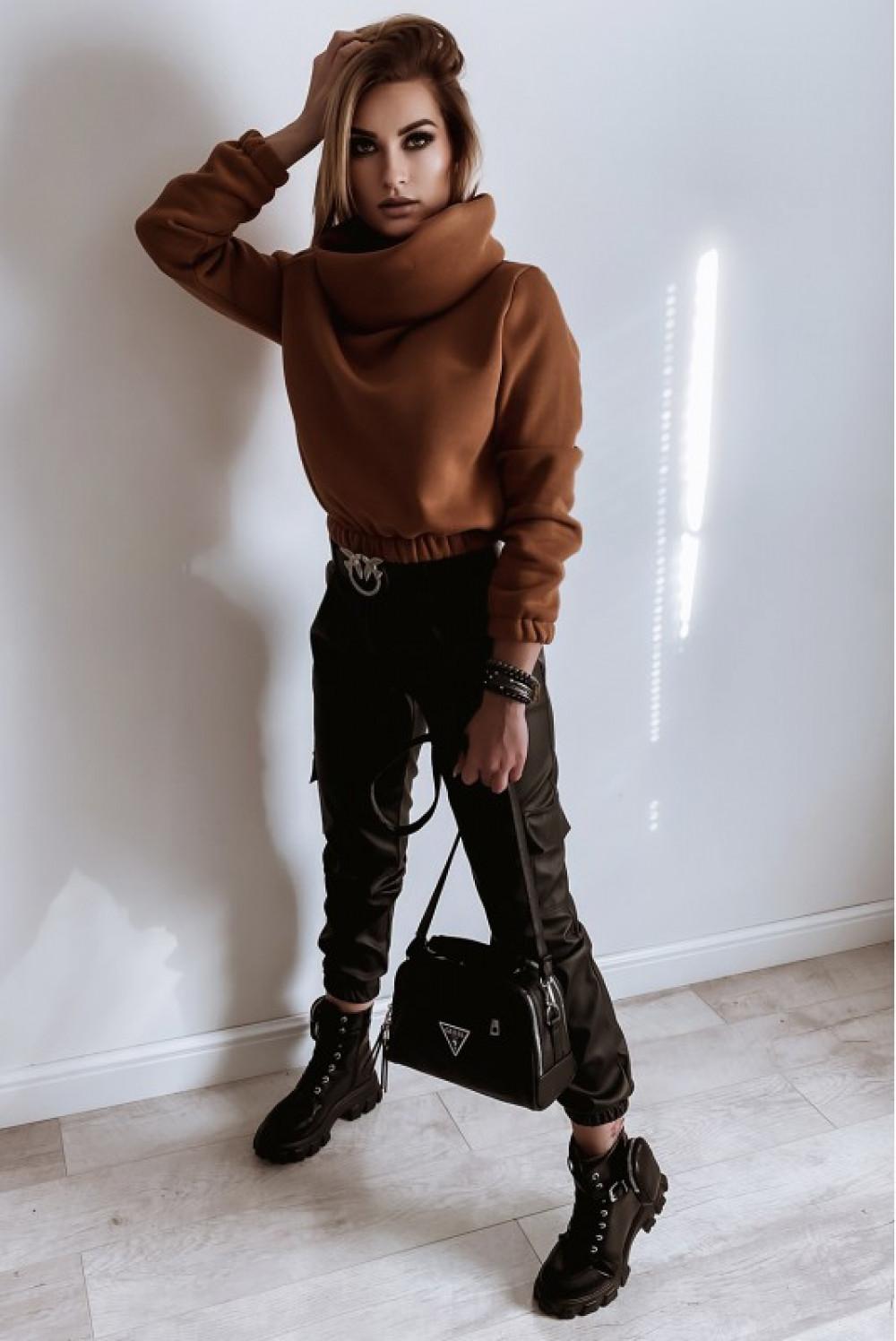 Czarne skórzane spodnie bojówki Perle 5