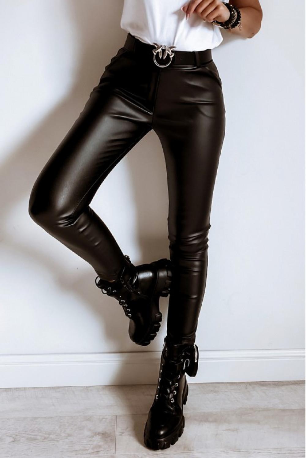 Czarne dopasowane woskowane spodnie Séphora 1