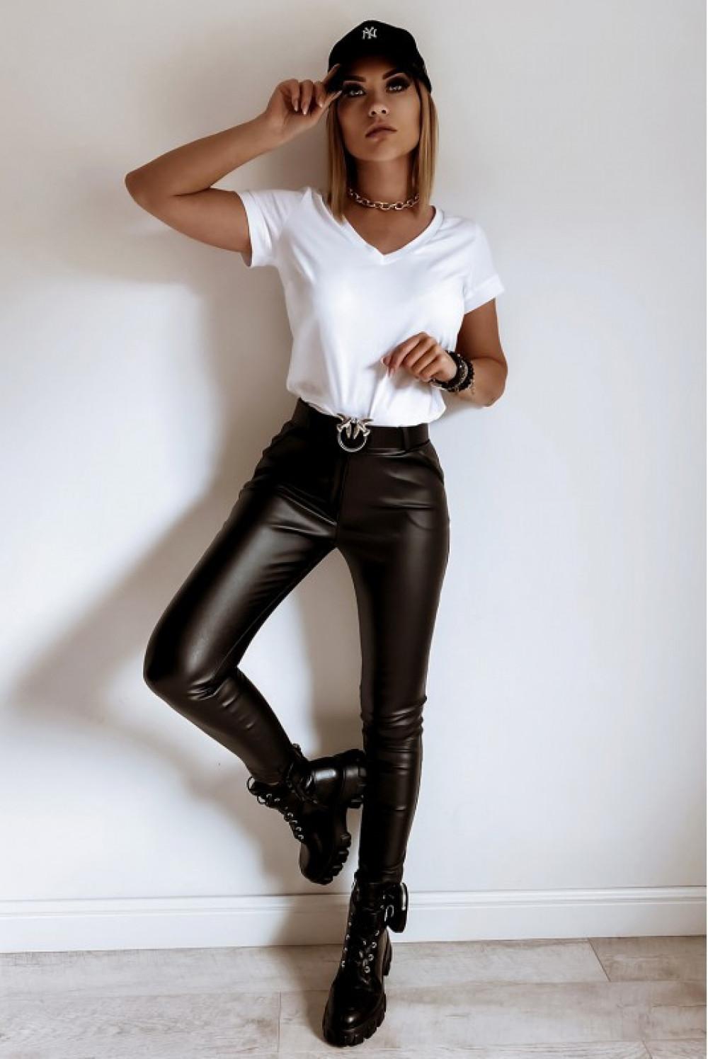 Czarne dopasowane woskowane spodnie Séphora 2