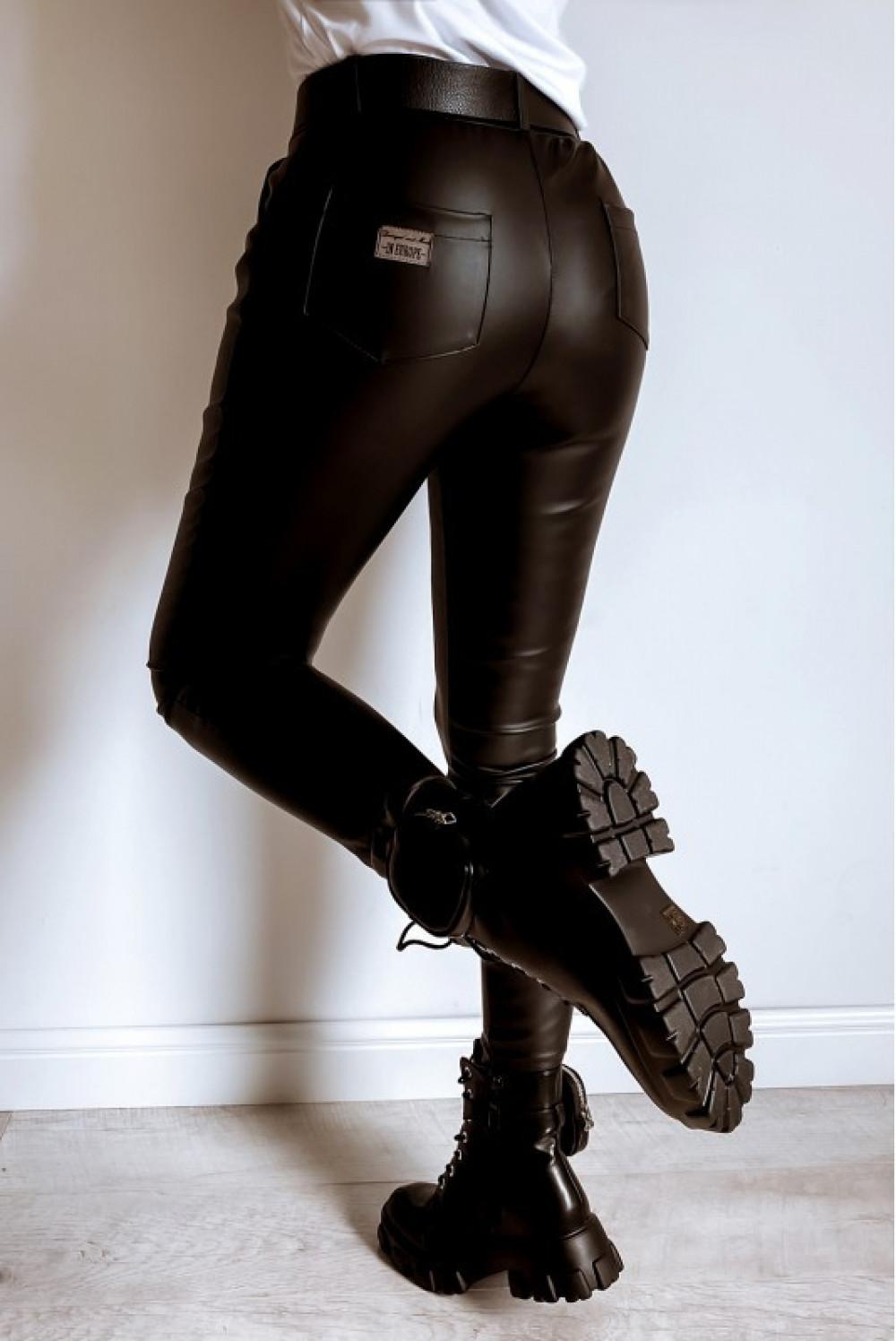 Czarne dopasowane woskowane spodnie Séphora 5
