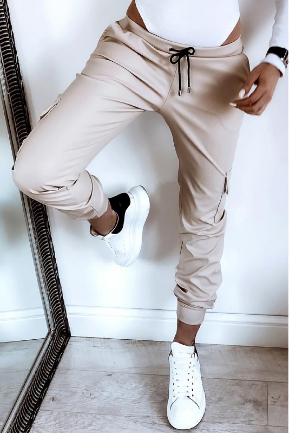 Beżowe skórzane spodnie bojówki Odette 1