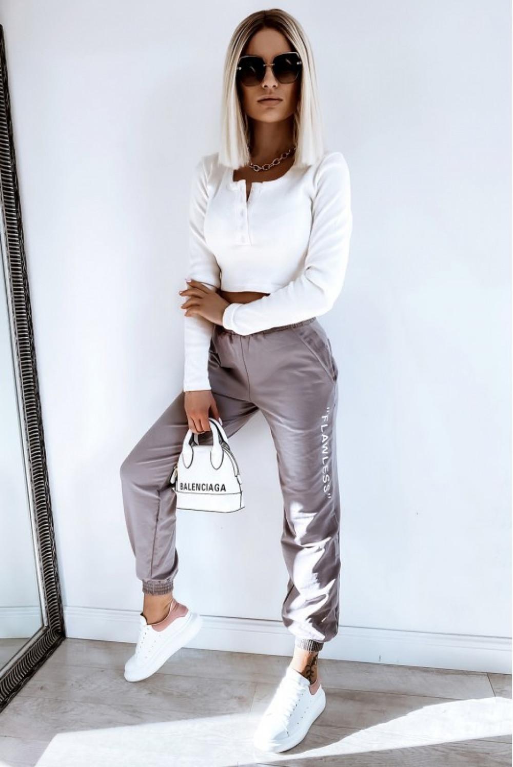 Kawowe spodnie dresowe oversize Flawless 2