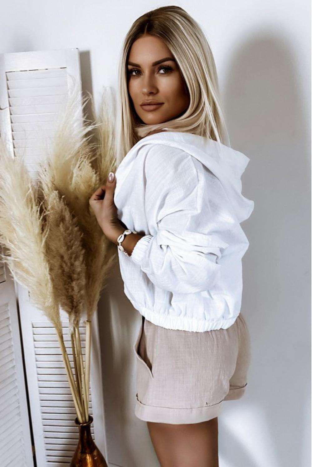 Beżowe bawełniane szorty boho Marielle 2