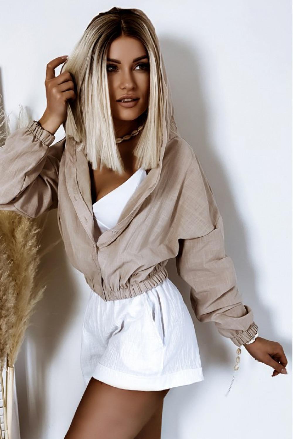 Białe bawełniane szorty boho Marielle 2