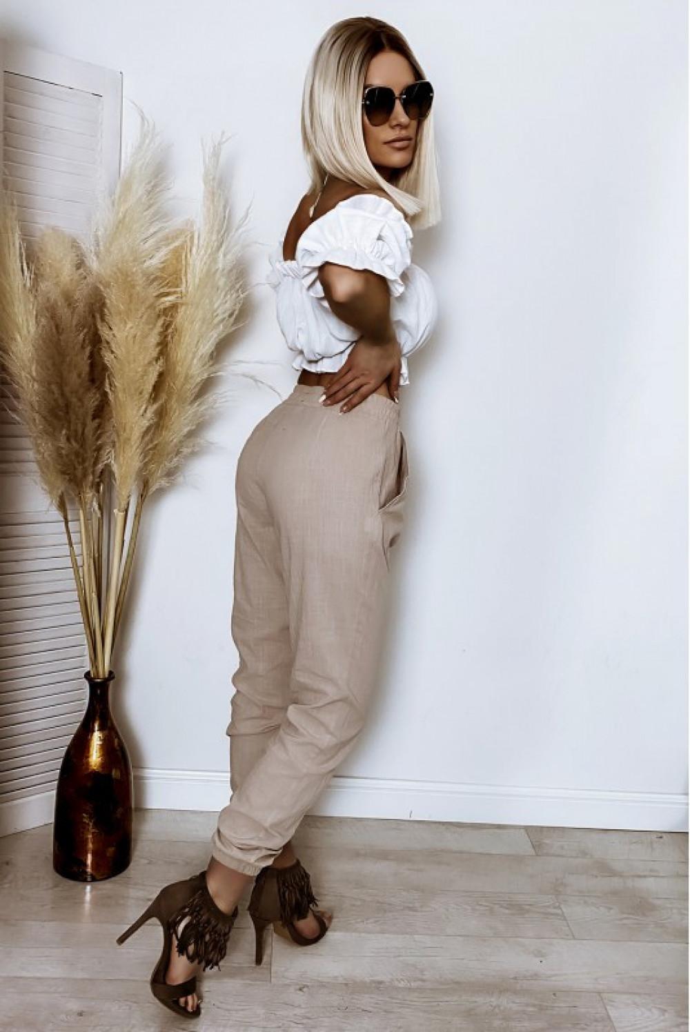 Beżowe bawełniane spodnie boho Aries 3